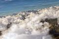 Картинка небо, облака, горы, арт, вид сверху, гряда