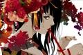 Картинка девушка, цветы, арт, лента, кимоно, красная