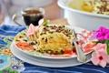 Картинка цветы, желтый, фон, обои, еда, шоколад, пирожное