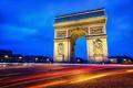 Картинка дорога, свет, город, огни, Франция, Париж, вечер