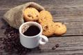 Картинка стол, кофе, шоколад, кружка, напиток, кофейные зёрна, овсяное печенье