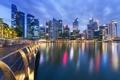 Картинка здания, Сингапур, ночной город, набережная, Singapore