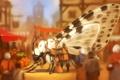 Картинка фантастика, путешественник, бабочка, арт, крылья, улица