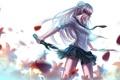 Картинка девушка, цветы, аниме, рога