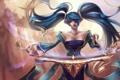 Картинка взгляд, девушка, музыка, арфа, инструмент, art, league of legends
