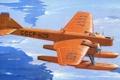Картинка вода, рисунок, арт, льды, самолёт, шасси, советский