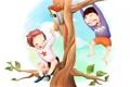 Картинка ветки, дети, дерево, листва, рисунок, скворечник, веселье