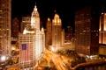 Картинка ночь, небоскребы, Чикаго, USA, США, ночной город, Chicago