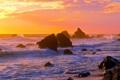 Картинка море, волны, небо, солнце, закат, скалы, берег