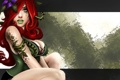 Картинка девушка, фон, арт, рыжая, плющ, Poison Ivy