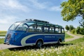 Картинка синий, трава, небо, автобус, neoplan, одуванчики, неоплан