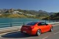 Картинка Озеро, BMW, Колеса, Машина, Бумер, БМВ, Оранжевый