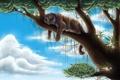 Картинка облака, цветы, тигр, дерево, высота, хищник, арт
