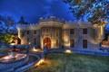 Картинка ночь, дизайн, город, дом, фото, газон, фонари