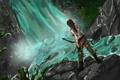Картинка девушка, камни, оружие, водопад, лук, арт, Lara Croft