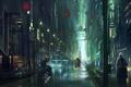 Картинка транспорт, город, фонарики, люди, мотоцикл, арт, улица