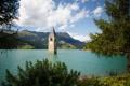 Картинка небо, деревья, горы, озеро, башня