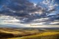Картинка облака, Орегон, солнце, холмы, лучи, поля