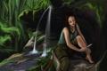 Картинка вода, лицо, водопад, арт, нож, Tomb Raider, ножка