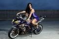 Картинка фон, девушка, мотоцикл