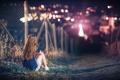 Картинка девушка, город, огни