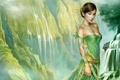 Картинка платье, девушка, рисунок, водопад