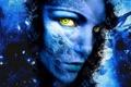 Картинка фантастика, Синее лицо, текстура для фотошоп