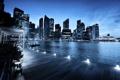 Картинка закат, город, дома, небоскребы, вечер, освещение, фонари