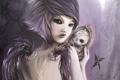 Картинка девушка, череп, крылья, зеркало, демон, арт, зеркальце