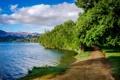 Картинка дорога, небо, деревья, горы, озеро, hdr