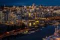 Картинка ночь, город, река, фото, дома, причал, Канада
