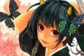 Картинка бабочки, демон, рога, красные глаза, Gintama, гинтама, Gedoumaru