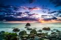 Картинка море, небо, закат, тучи, камни