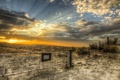 Картинка закат, пейзаж, поле, забор, HDR