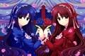 Картинка цветы, девушки, красное, розы, аниме, синее, платья