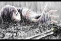 Картинка дождь, кровь, Девушка, меч, бинты, рана