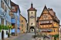 Картинка цветы, улица, часы, башня, дома, Германия, фонари