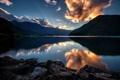 Картинка лес, небо, закат, горы, тучи, озеро, Olympic National Park