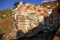 Картинка небо, скалы, лодка, дома, Италия, Риомаджоре, Чинкве-Терре