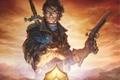 Картинка пистоль, корона, fable 3, парень, меч, artwork