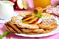 Картинка яблоки, мед, корица, десерт, вафли