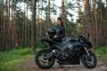 Картинка девушка, брюнетка, мотоцикл, Kawasaki, Ninja, Форрест