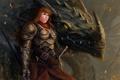 Картинка девушка, дракон, воин, фэнтези, арт, рыжая, доспех