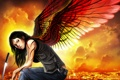Картинка взгляд, девушка, город, крылья, меч, катана, арт