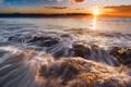 Картинка море, облака, закат, скалы, Италия, sea, Italy