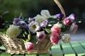 Картинка доски, розы, корзинка, бутоны, эустома, © Elena Di Guardo