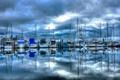 Картинка море, небо, облака, тучи, лодка, пристань, бухта