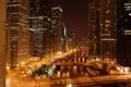 Картинка ночь, огни, река, небоскребы, мосты, чикаго, Chicago