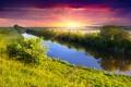 Картинка небо, трава, солнце, деревья, закат, река, landscape