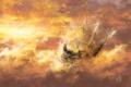 Картинка облака, птицы, фантазия, корабль, арт